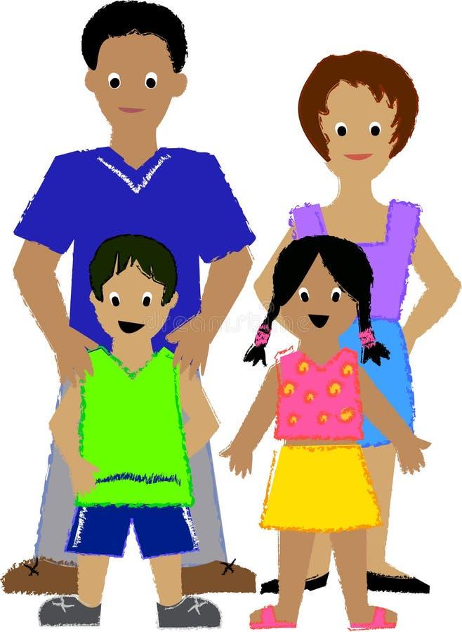 Família com dois Kids/ai ilustração stock