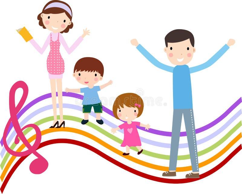 Família com dois miúdos ilustração stock