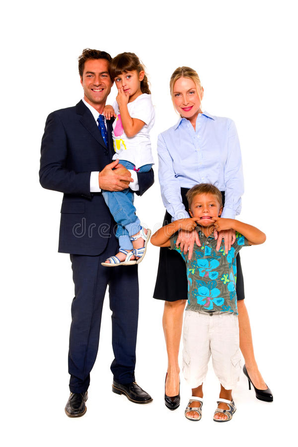 Família com duas crianças fotografia de stock