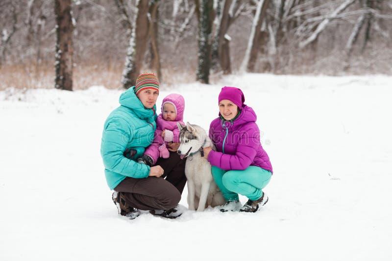 A família com o cachorrinho fotografia de stock royalty free