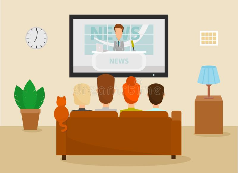 Família com o gato que olha o programa de notícias diário da tevê sentar-se no sofá em casa na sala de visitas Vetor ilustração royalty free