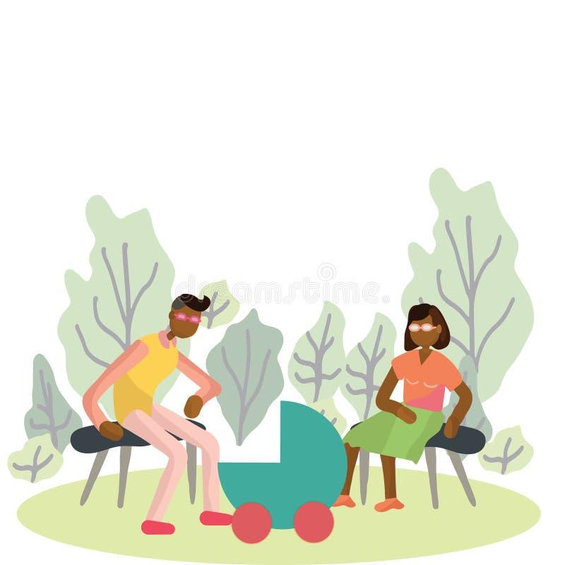 Família com o pram recém-nascido no parque ilustração stock