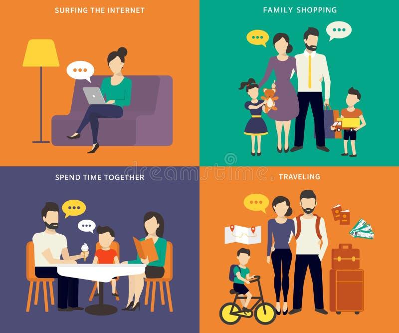 Família com os ícones lisos do conceito das crianças ajustados ilustração royalty free