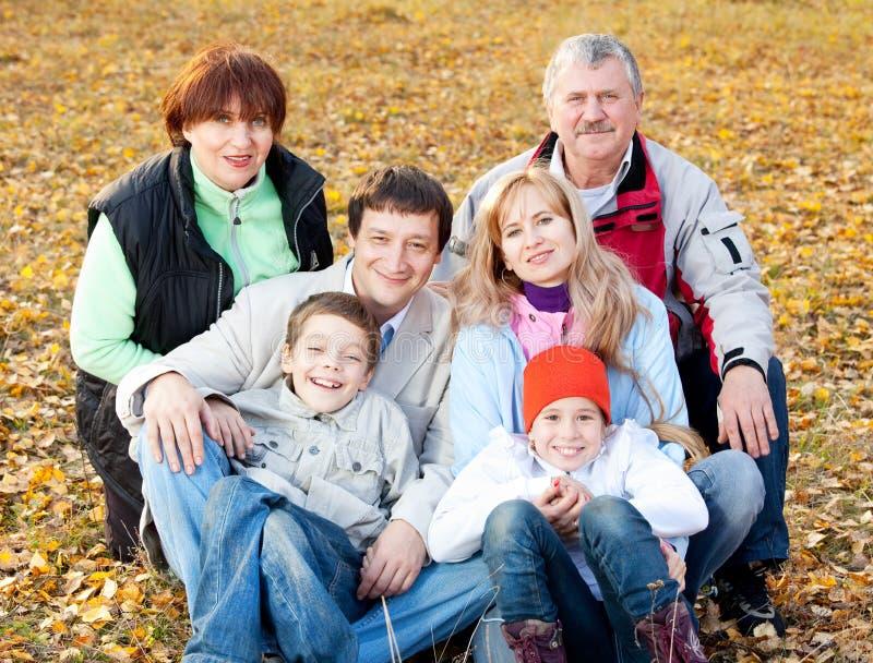 Família com os grandparents no parque do outono fotos de stock