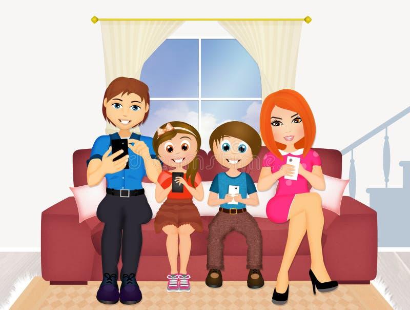 Família com telefones celulares no sofá ilustração do vetor
