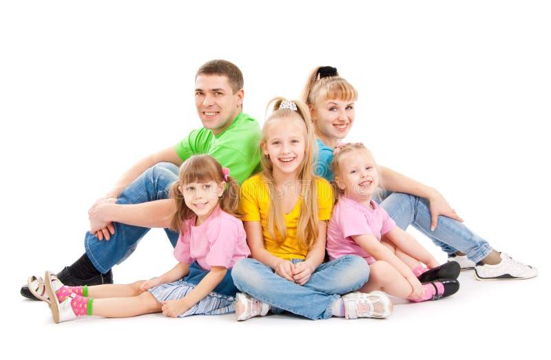 Família com três filhas imagens de stock royalty free