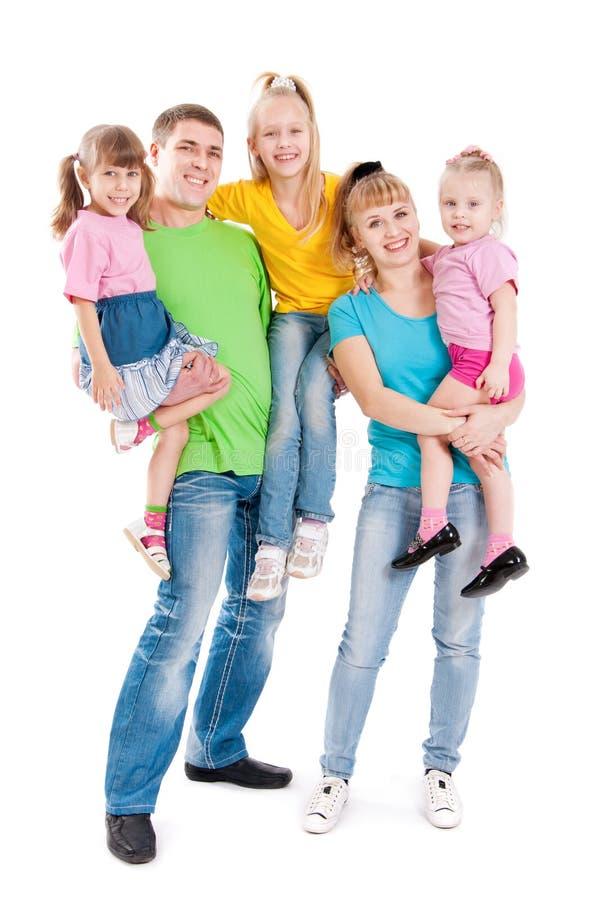 Família com três filhas fotos de stock