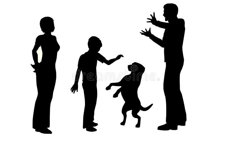 Família com vetor do cão ilustração stock