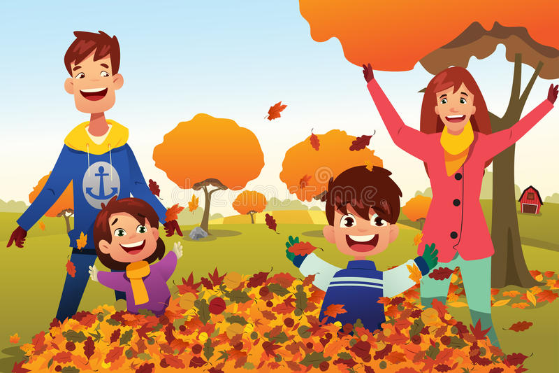 A família comemora Autumn Season Outdoors ilustração royalty free