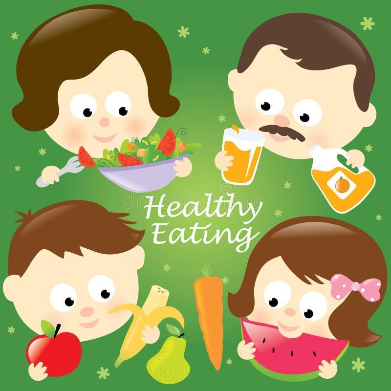 Família comendo saudável ilustração royalty free