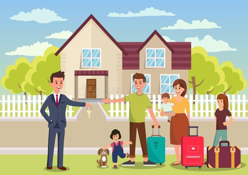 A família compra a casa Ilustração lisa do vetor ilustração do vetor