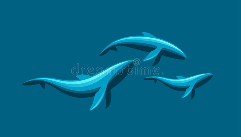 Família da baleia ilustração royalty free