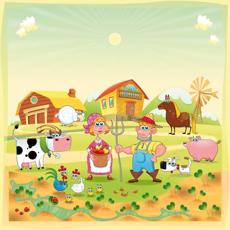 Família da exploração agrícola. ilustração stock