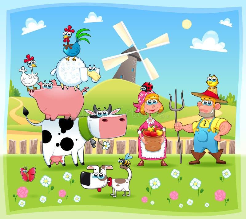 Família da exploração agrícola engraçada. ilustração do vetor