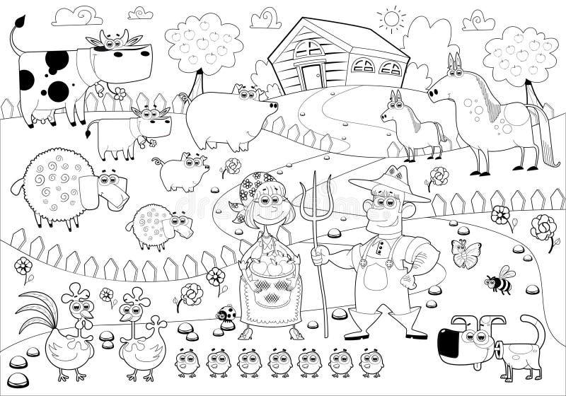 Família da exploração agrícola engraçada em preto e branco. ilustração royalty free