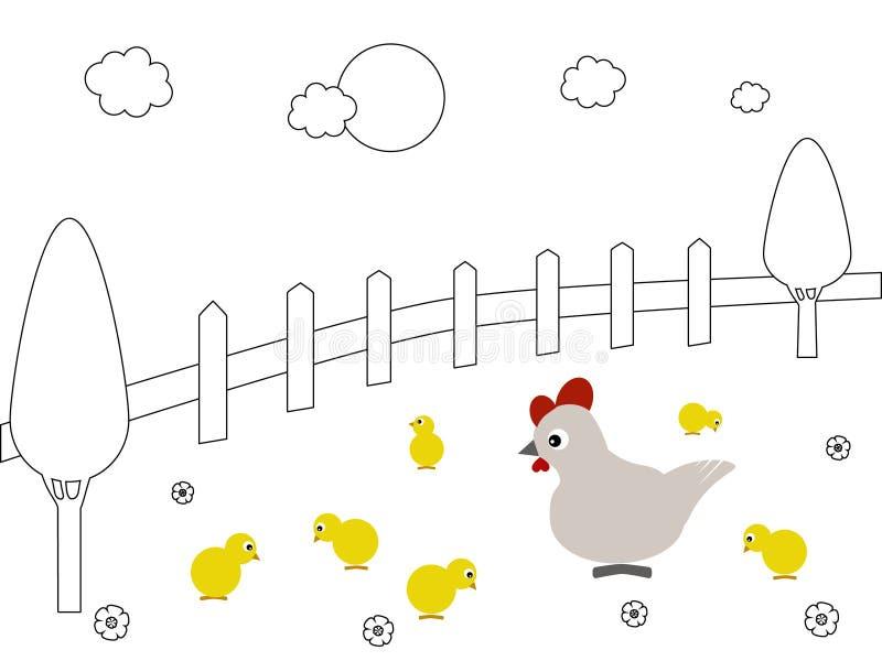 Família da galinha ilustração royalty free