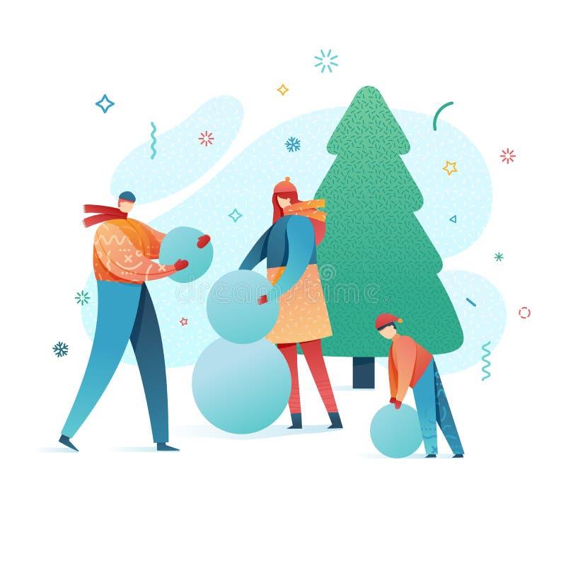 Família da ilustração do ano novo feliz do projeto que faz um boneco de neve Caráter liso bonito dos pais e das crianças em um es ilustração royalty free