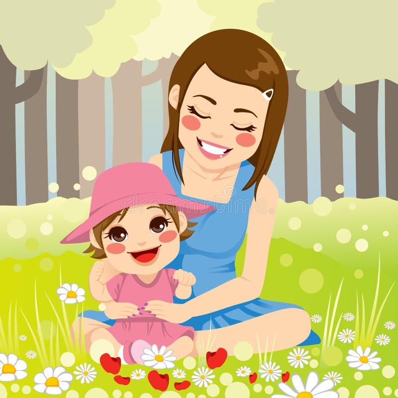 Família da mãe solteira ilustração royalty free