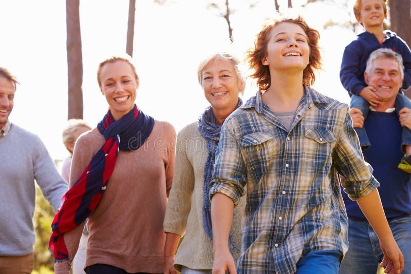 família da Multi-geração que anda no campo, fim acima imagens de stock royalty free