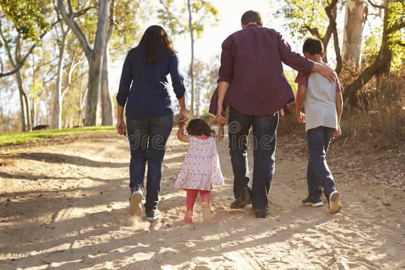 Família da raça misturada que anda no trajeto rural, opinião traseira do fim acima fotografia de stock