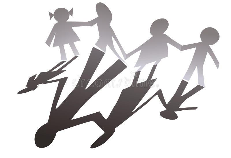 Família da silhueta de papel ilustração royalty free