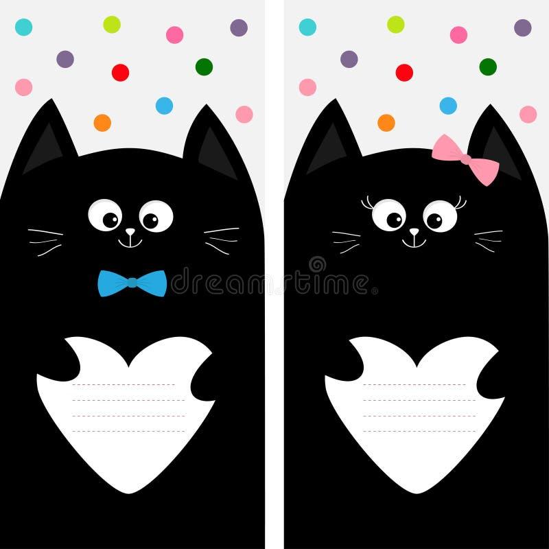 Família da vaquinha do gato preto que guarda o papel vazio da forma do coração Molde do livro da composição da tampa do caderno d ilustração stock