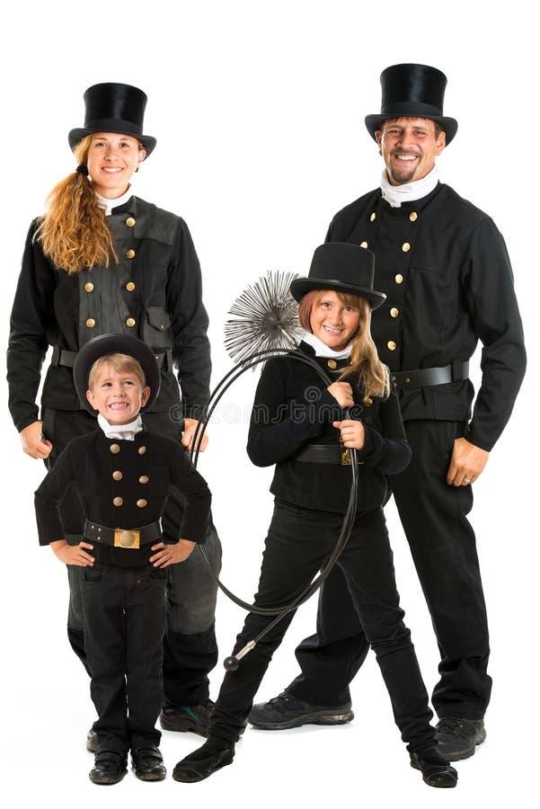 Família da vassoura da chaminé imagens de stock