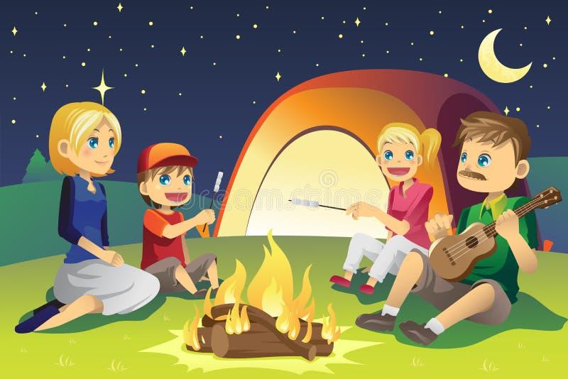 Família de acampamento ilustração royalty free