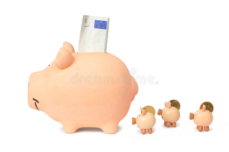 Família de bancos Piggy fotos de stock royalty free