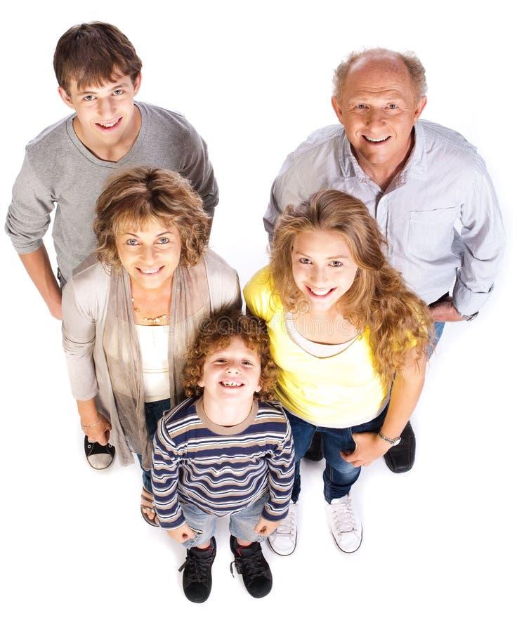 Família de cinco feliz e loving imagens de stock