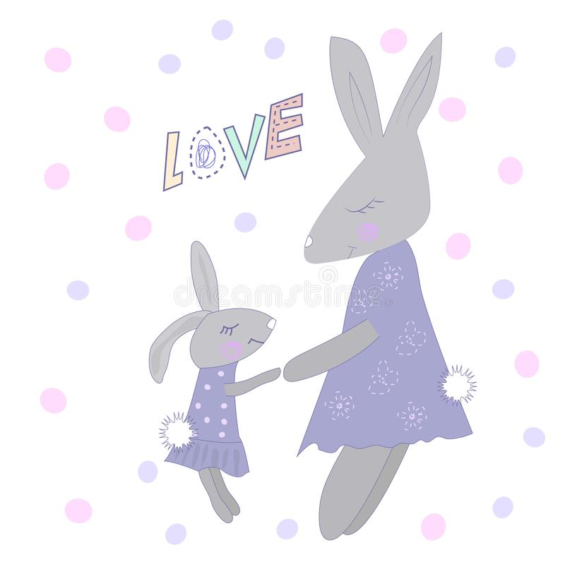 Família de coelhos bonitos dos desenhos animados ilustração stock
