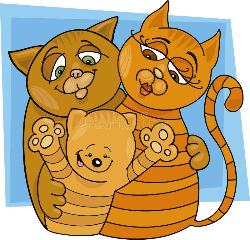 Família de gatos ilustração do vetor