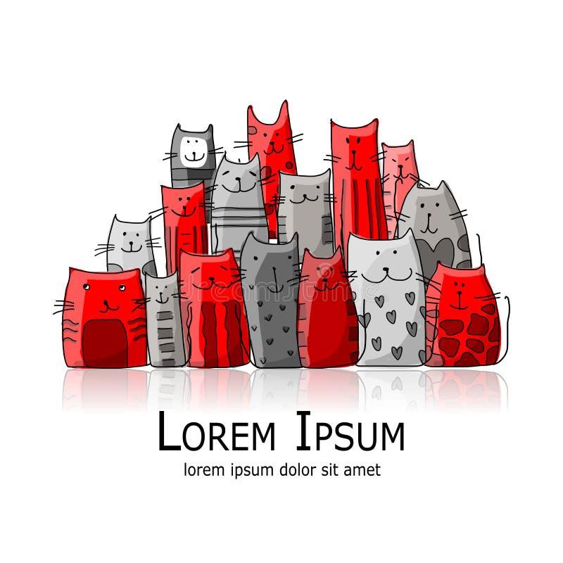 Família de gatos engraçada, esboço para seu projeto ilustração royalty free