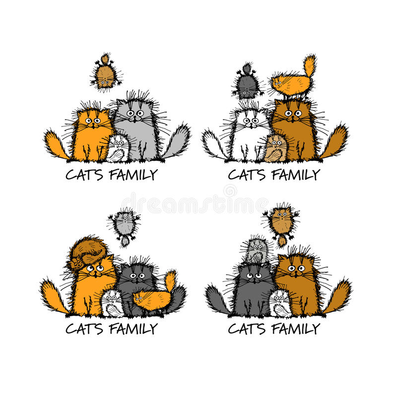 Família de gatos engraçada, esboço para seu projeto ilustração stock