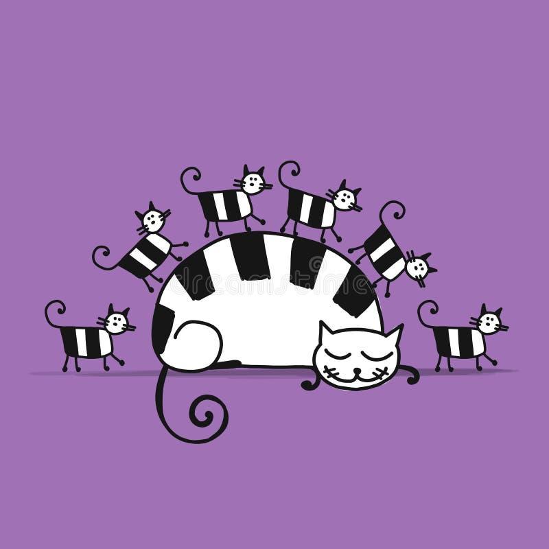 família de gatos, esboço para seu projeto ilustração do vetor