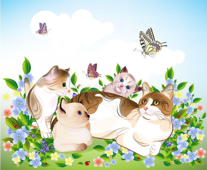 Família de gatos feliz. ilustração royalty free