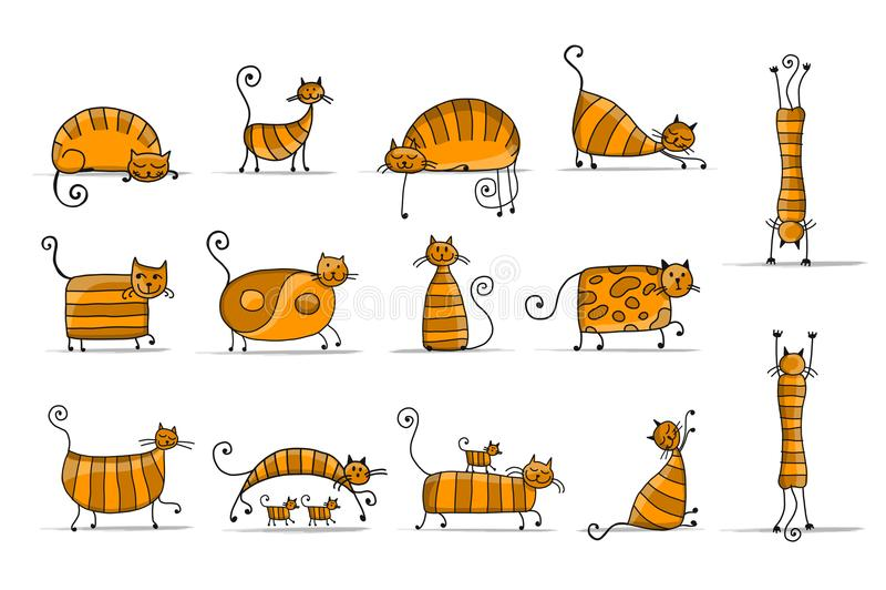 Família de gatos listrada bonito, esboço para seu projeto ilustração do vetor