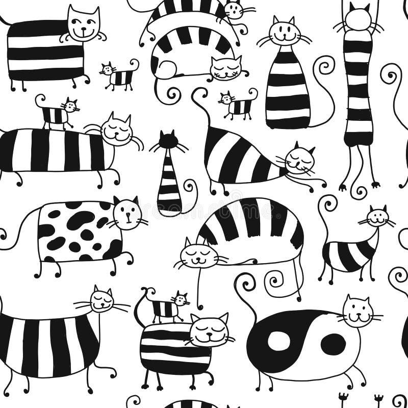 Família de gatos listrada bonito, teste padrão sem emenda para seu projeto ilustração stock