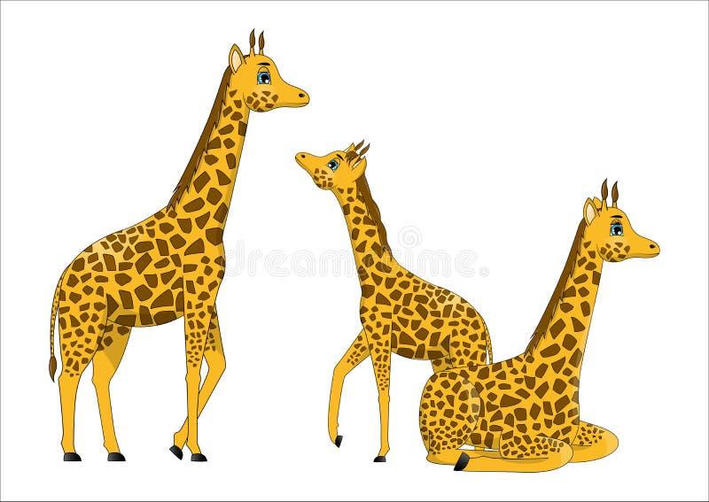 Família de girafas bonitos dos desenhos animados ilustração royalty free