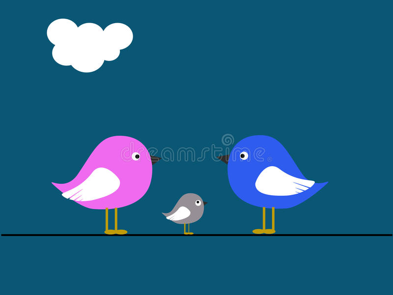 Família de pássaro ilustração stock