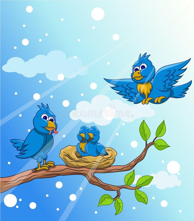 Família de pássaro azul com neve ilustração stock