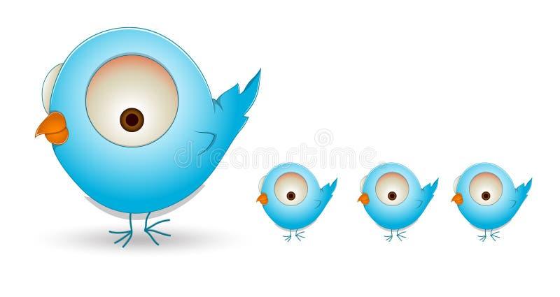 Família de pássaro bonito dos desenhos animados ilustração stock