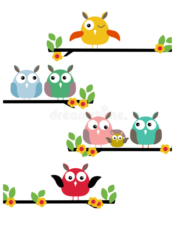Família de pássaro da ilustração na árvore ilustração stock