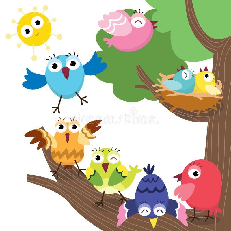 Família de pássaros bonito ilustração do vetor