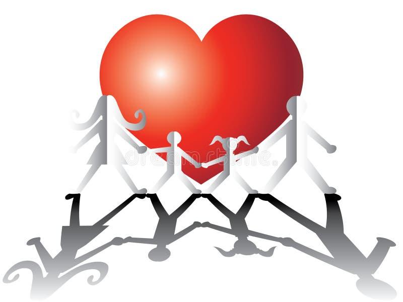 Família de papel no amor ilustração do vetor