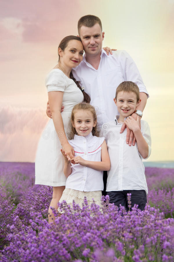 Família de quatro pessoas entre o campo da alfazema foto de stock