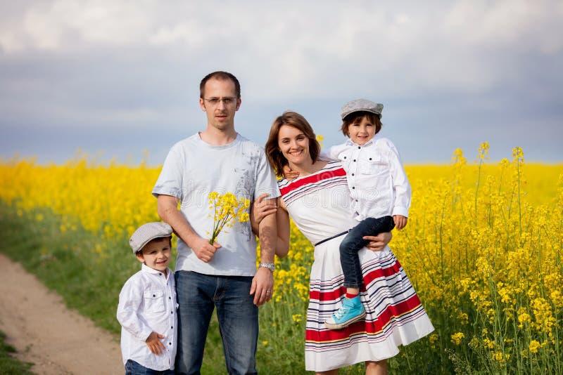 Família de quatro pessoas, mãe, pai e dois meninos, em uma violação de semente oleaginosa f fotografia de stock royalty free