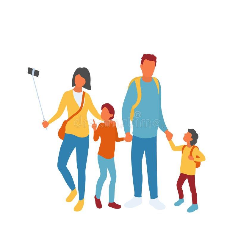 Família de quatro pessoas moderna que toma a foto do grupo usando a vara do selfie ilustração royalty free