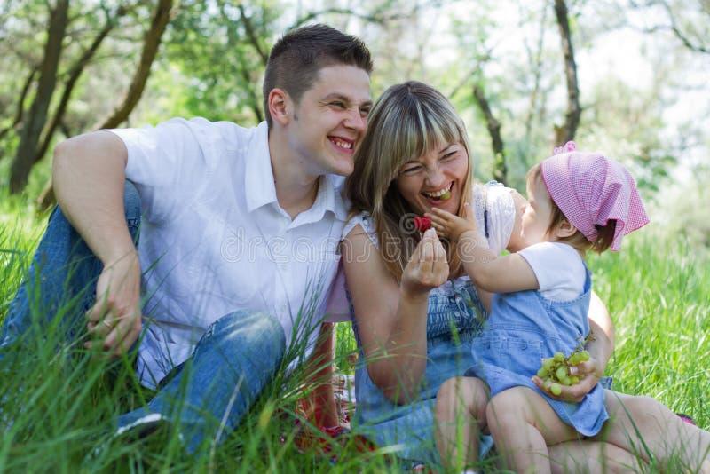 Família de três nova em um piquenique fotos de stock