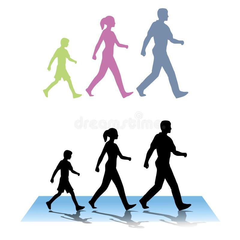 Família de três que anda ilustração do vetor